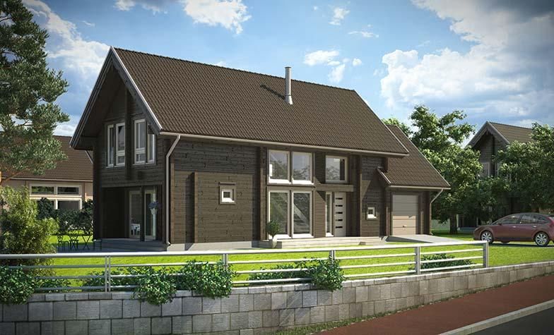 Деревянный двухэтажный дом Апертус