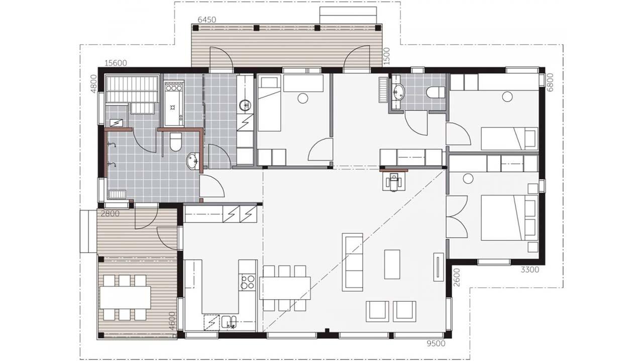 План небольшого дома из клееного бруса Ауринкометса