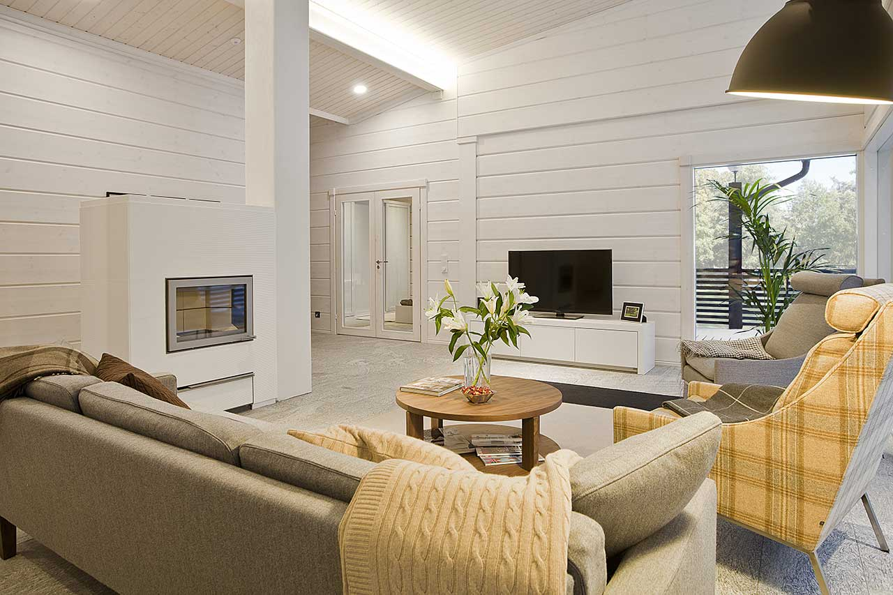 Уютная гостиная в светлых тонах