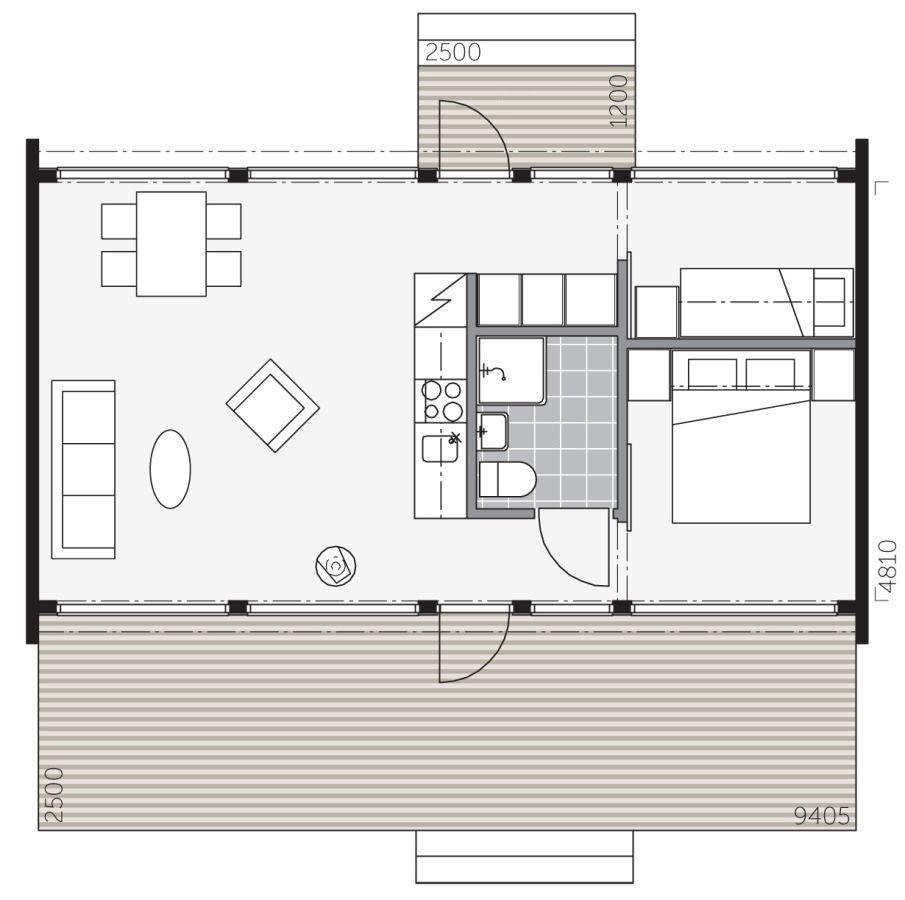 План небольшого дома из бруса