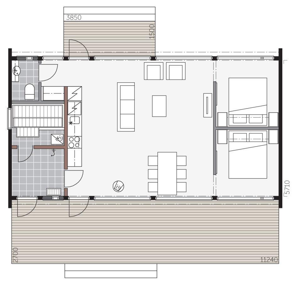 Проект дома со встроенной сауной