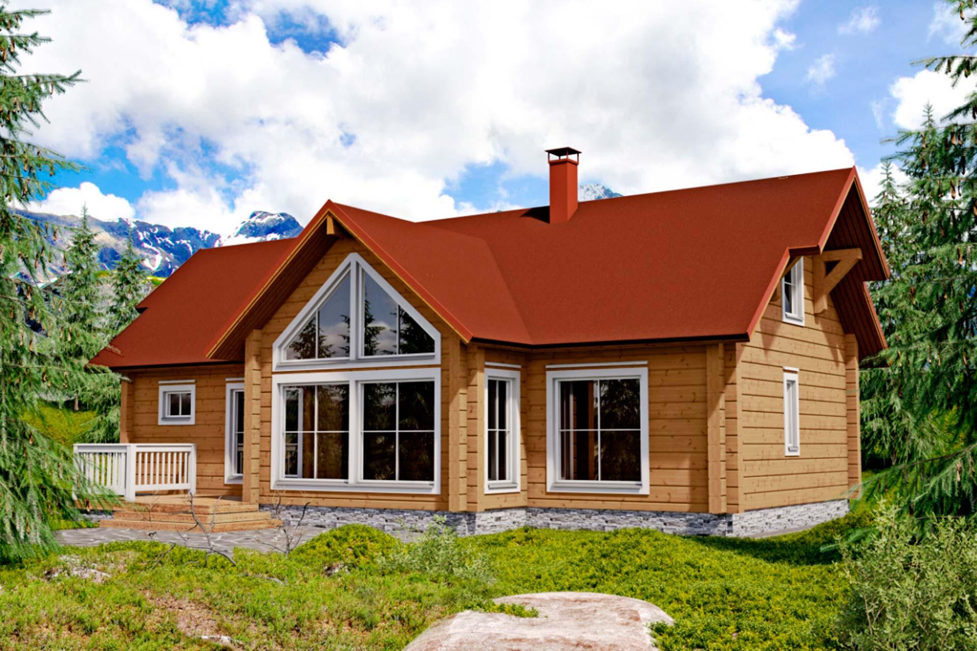 Дом с панорамными окнами в классическом стиле