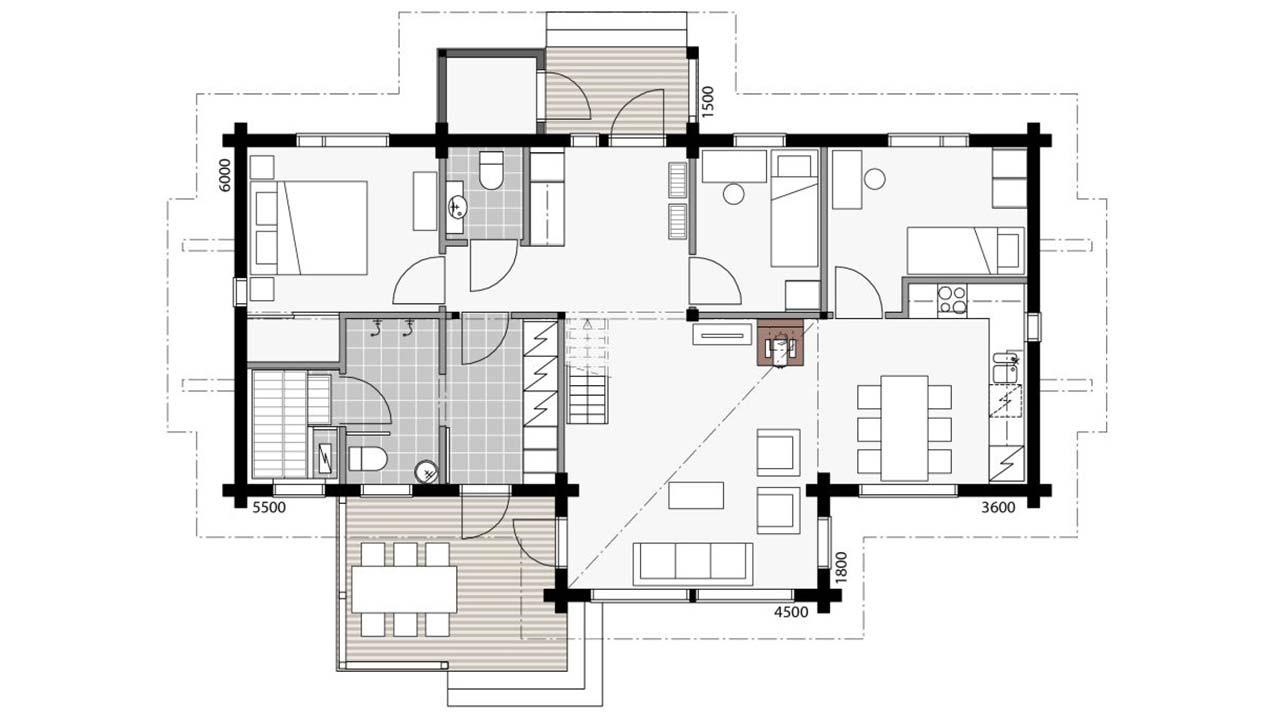 Первый этаж деревянного дома Контио Леви В