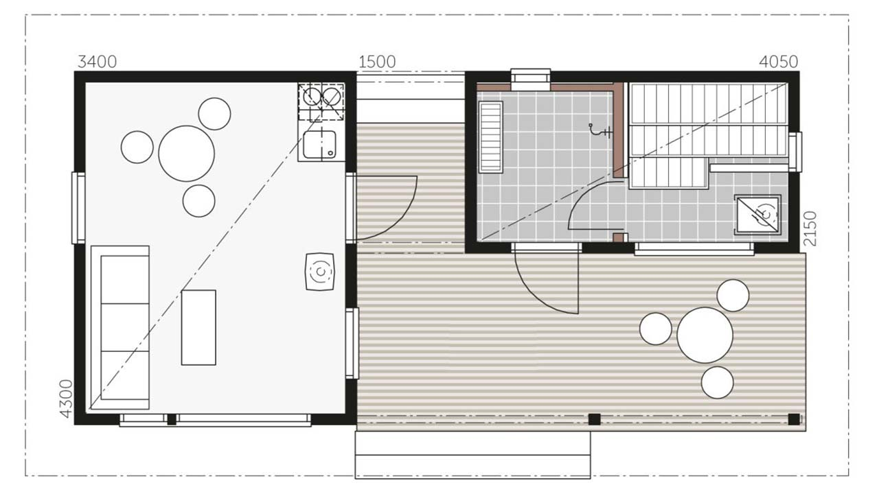 План сауны Контио с комнатой отдыха