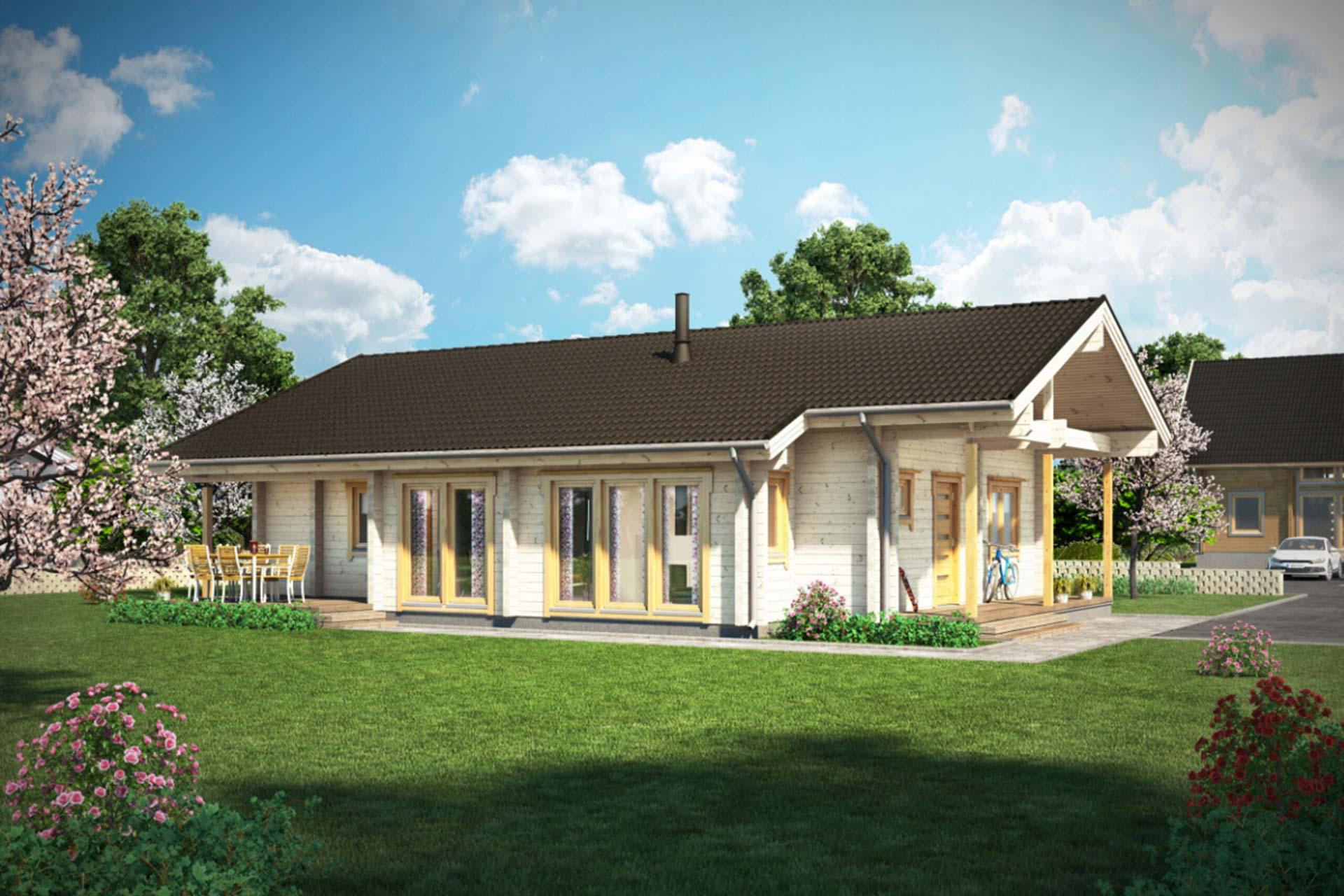 Уютный деревянный дом Контио Дельфиниум