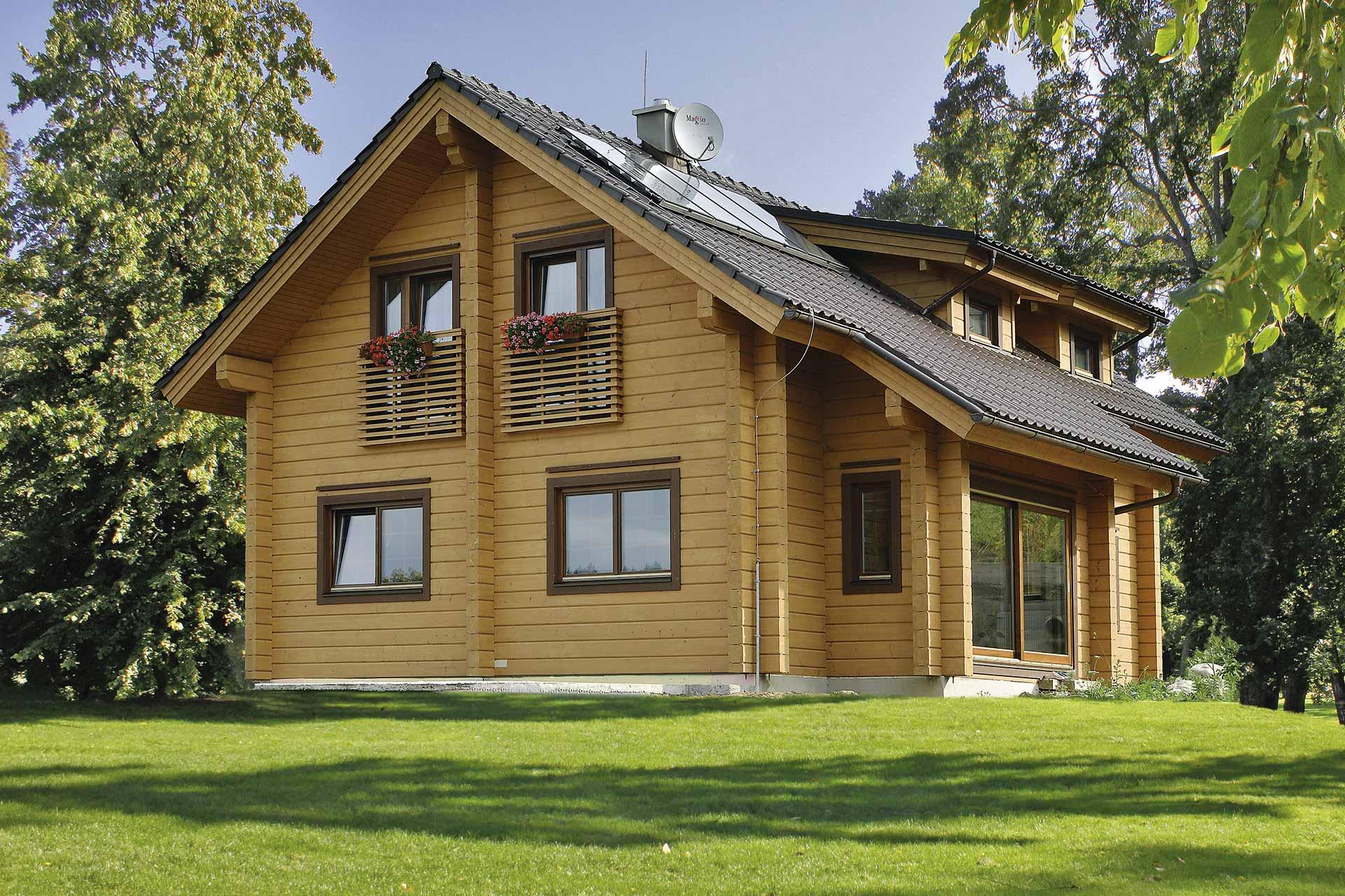 Fragaria 2 красивый двухэтажный деревянный дом из бруса