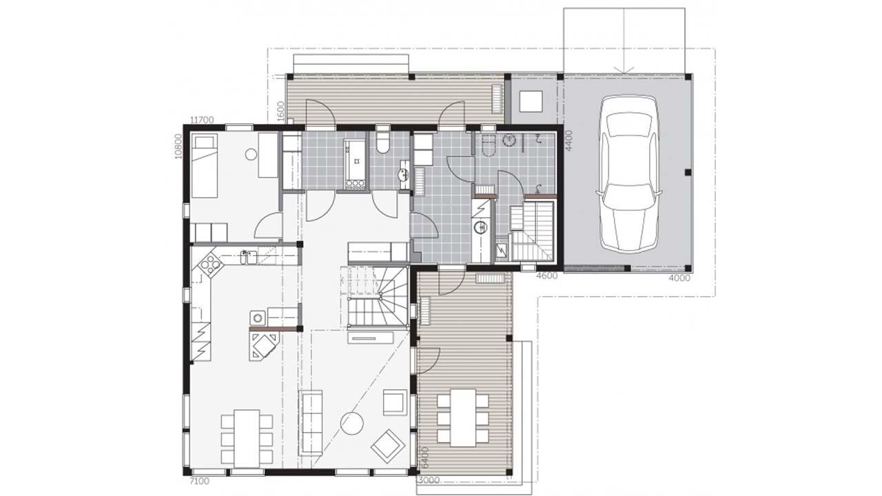 Первый этаж деревянного дома Контио Merikallio