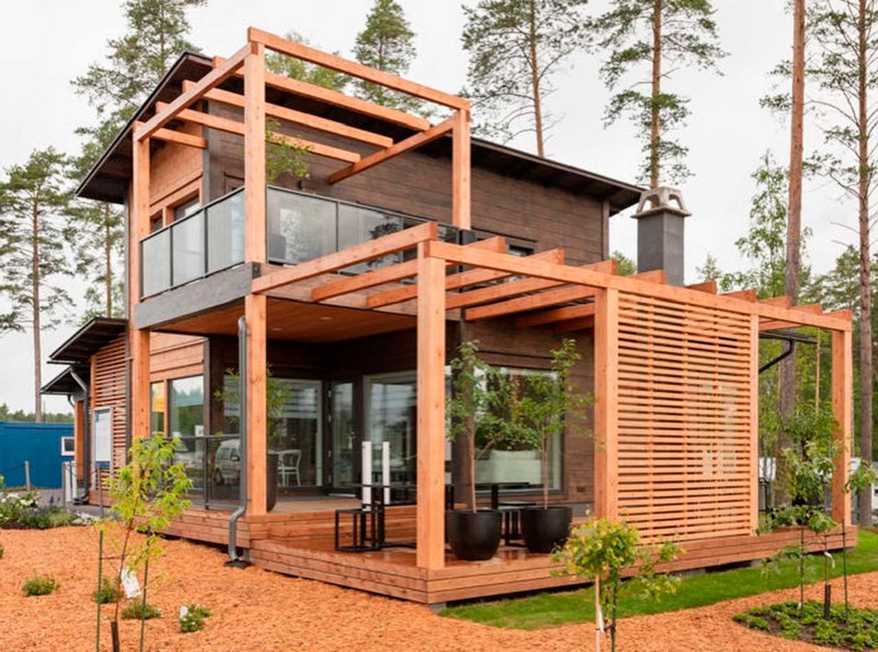 Двухэтажный дом с террасой и балконом Контио Тойве