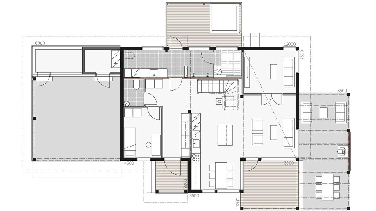 План двухэтажного дома из бруса Контио Тойве первый этаж