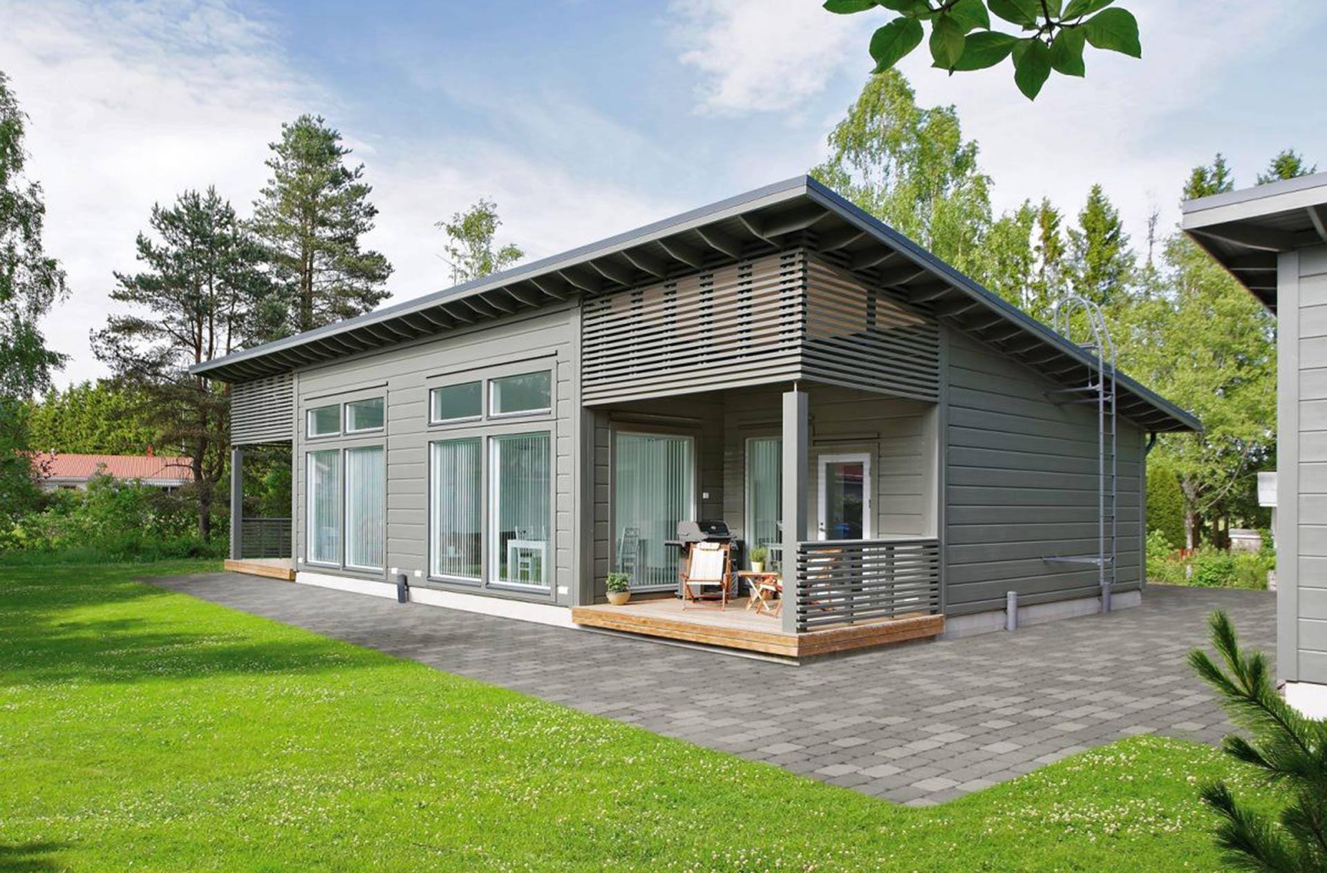 Серый дом из клееного бруса