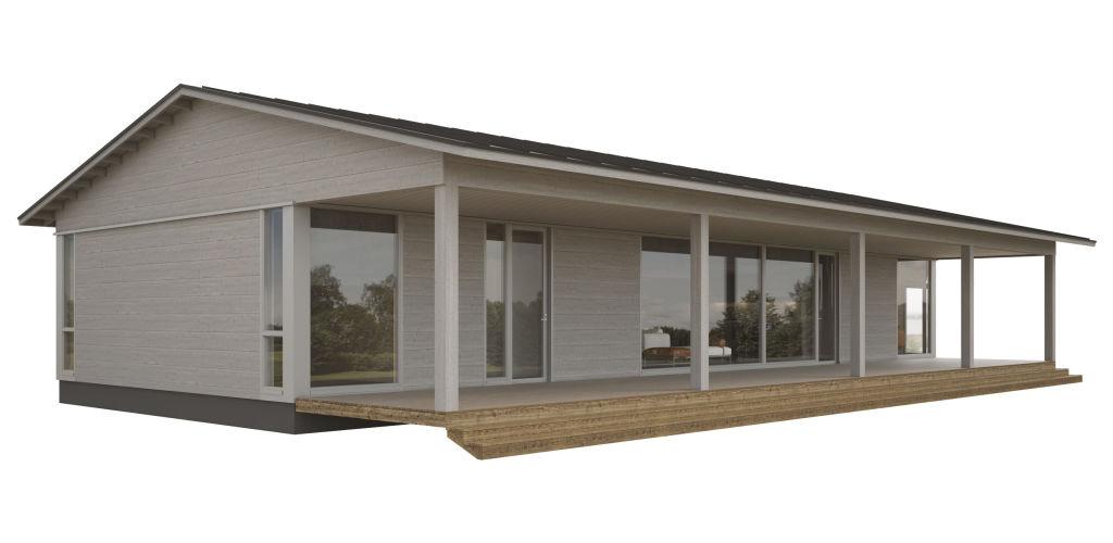 Коттедж с двухскатной крышей и террасой