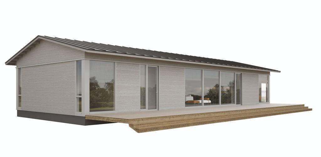 Коттедж с двухскатной крышей