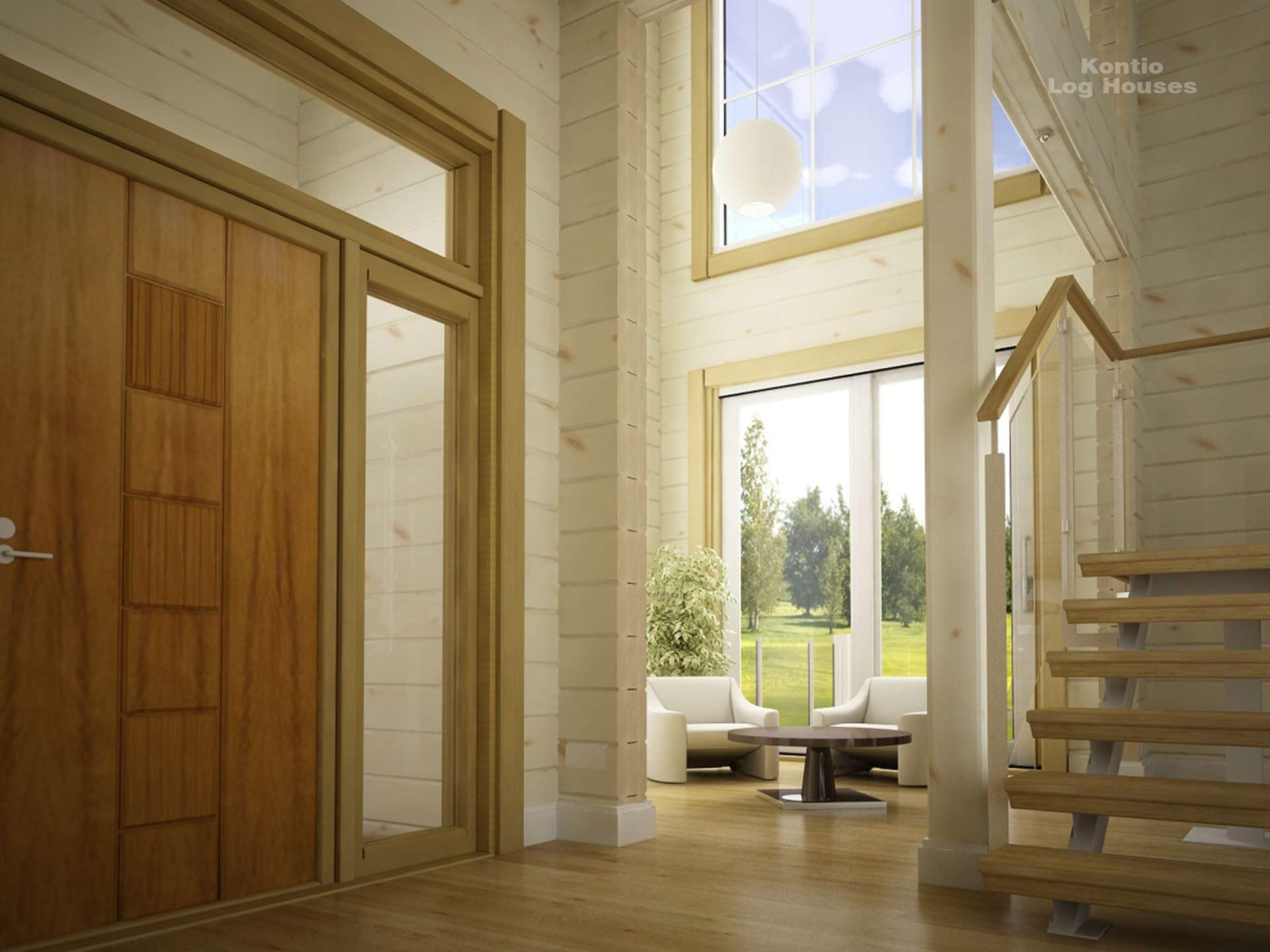 Светлые стены деревянного дома