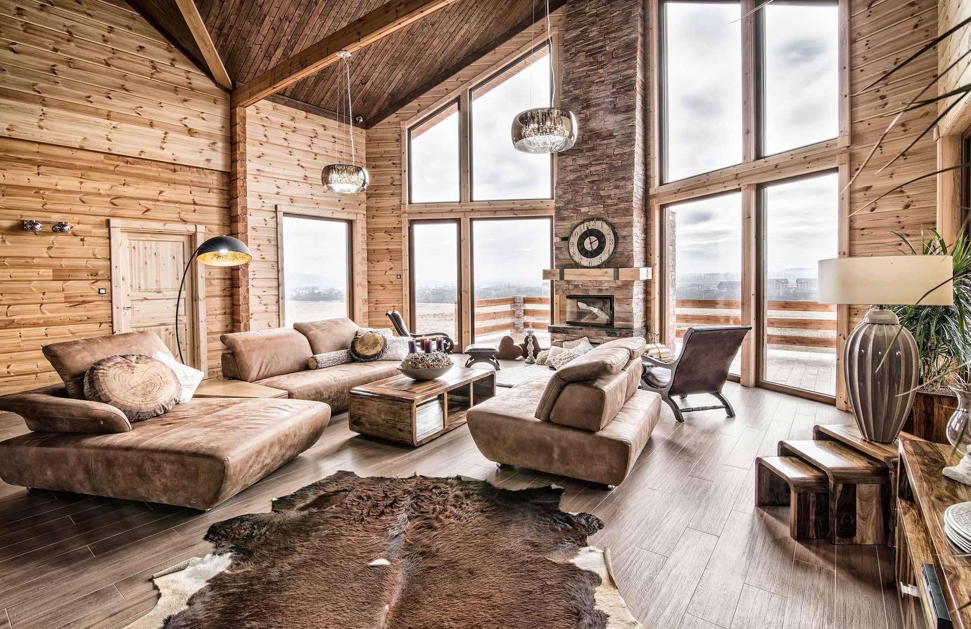 Гостиная в деревянном доме Ломница