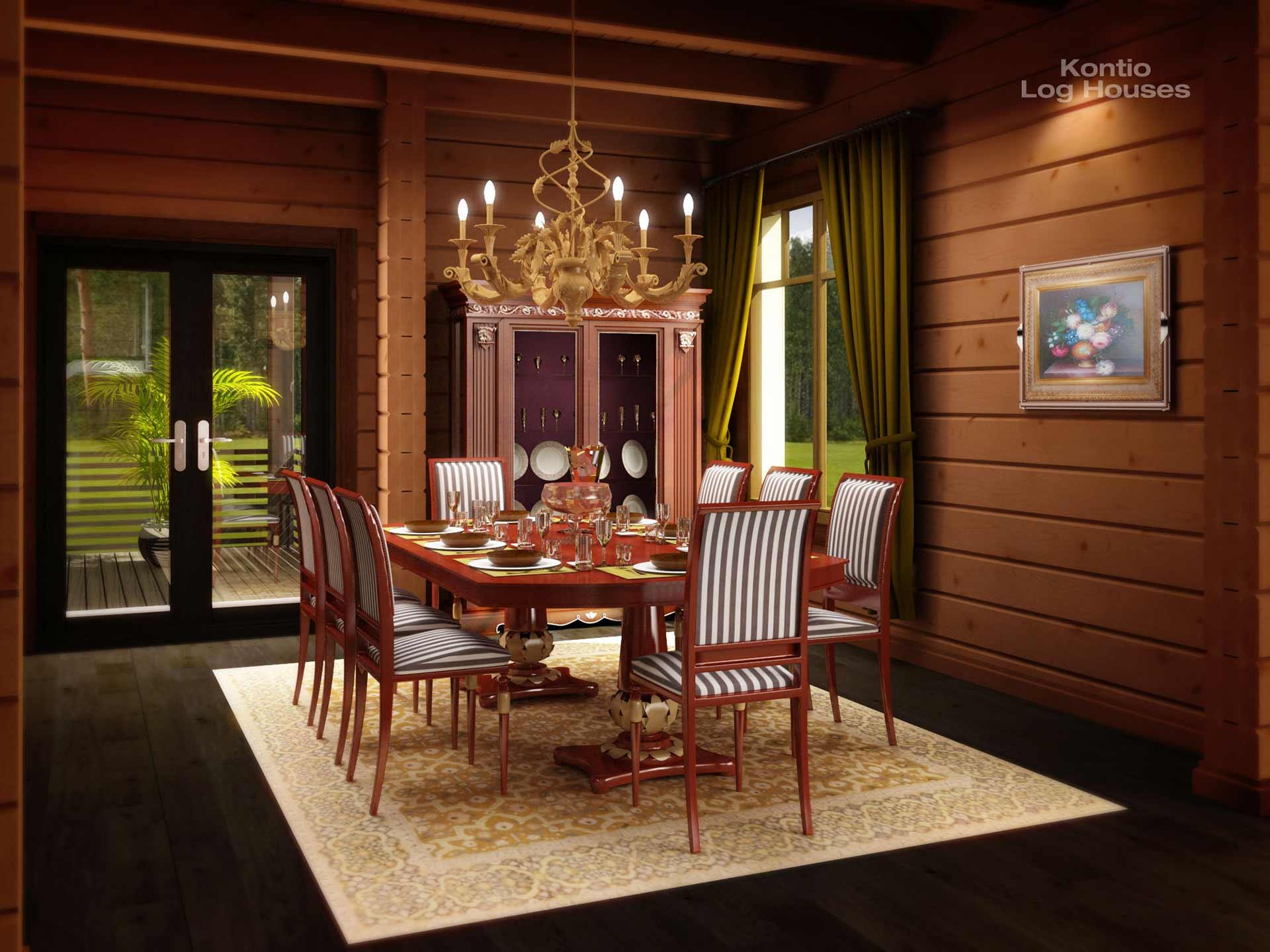 Роскошная столовая деревянного дома