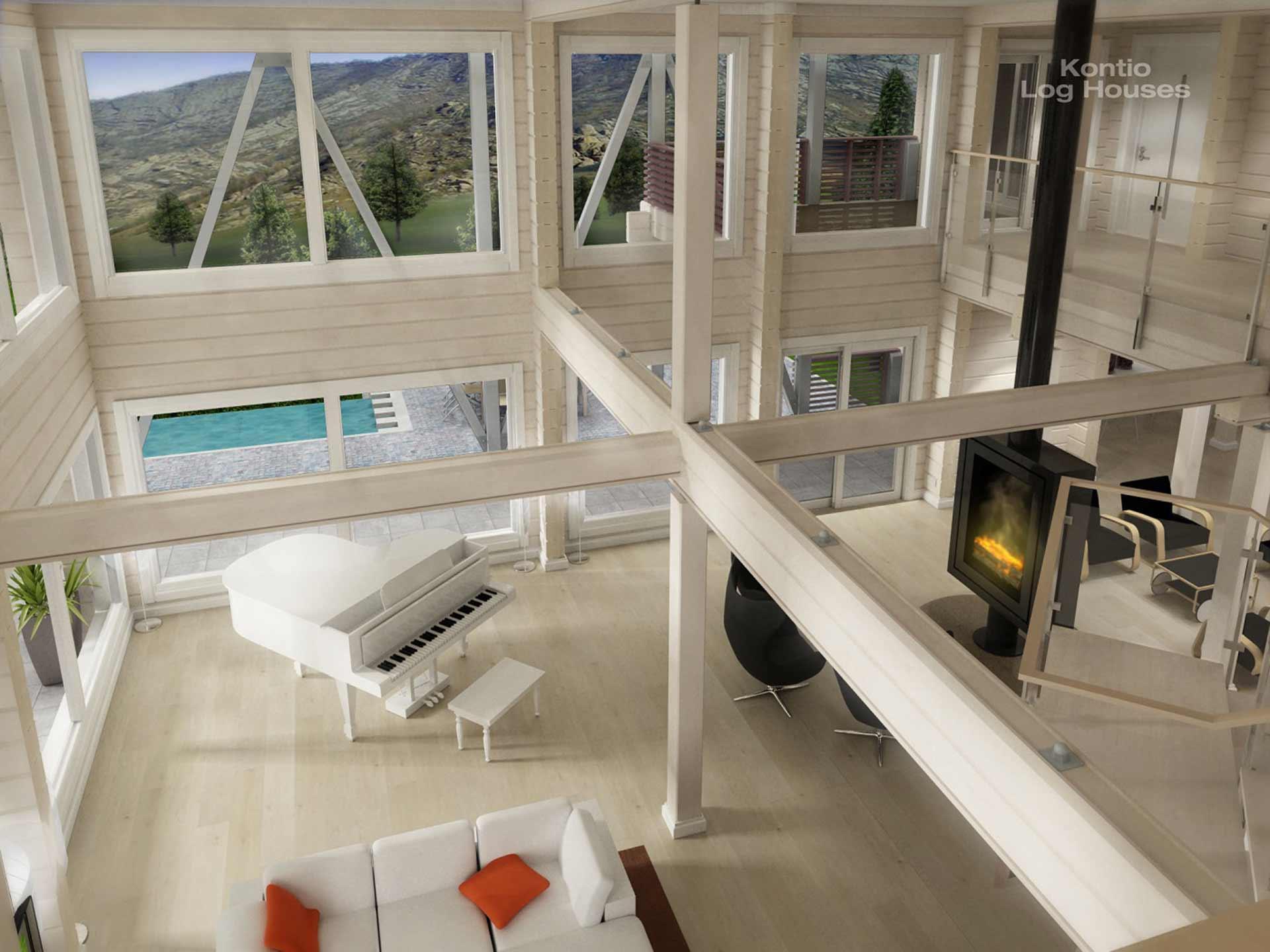 Высокая гостиная комната