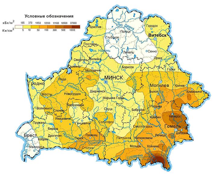 Карта загрязнения Беларуси йодом