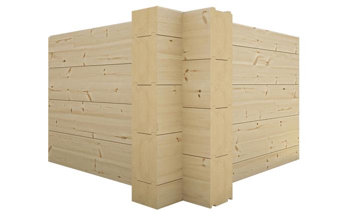Традиционное пересечение стен из бруса