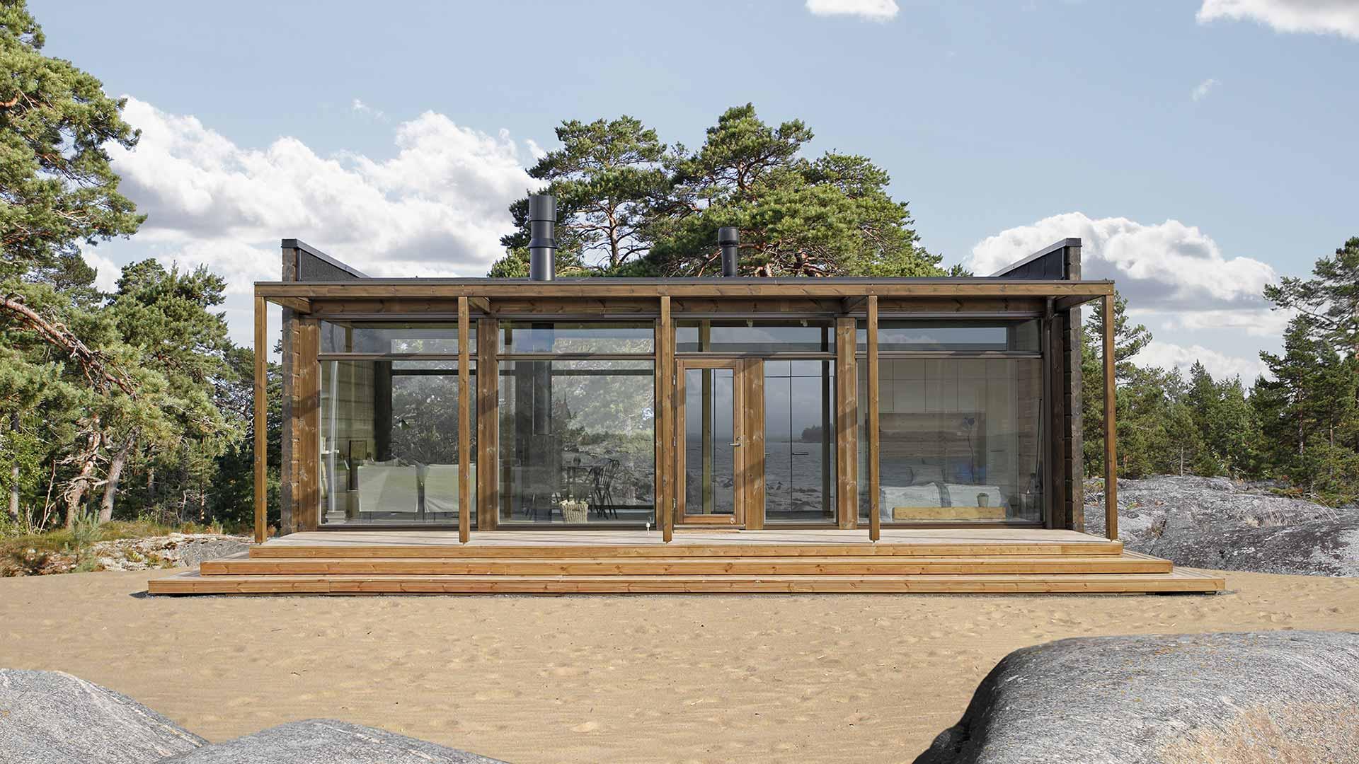 Компактный загородный деревянный дом
