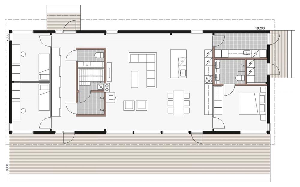 План одногоэтажного деревянного дома