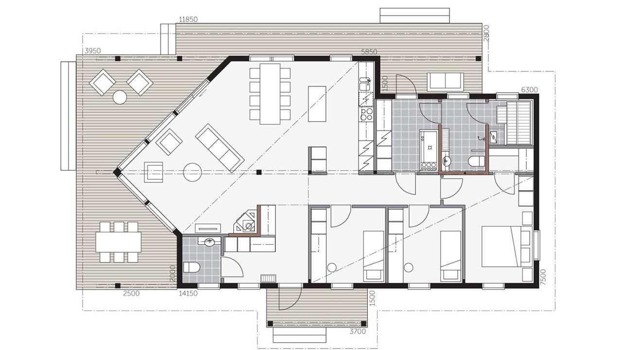 планировка деревянного дома Контио Сараниеми А