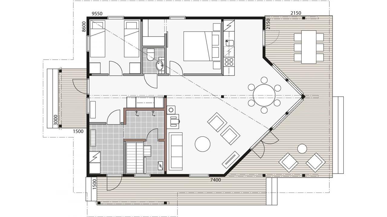 Планировка дома из клееного бруса Контио Сараниеми В