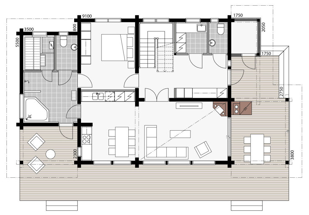 Плане первого этажа шале