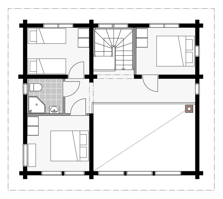 План мансардного этажа коттеджа