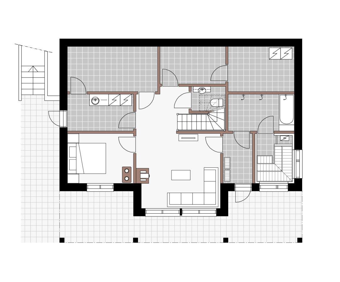 План цокольного этажа шале