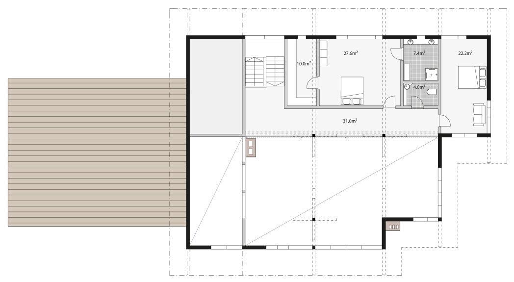 Второй этаж деревянного шале