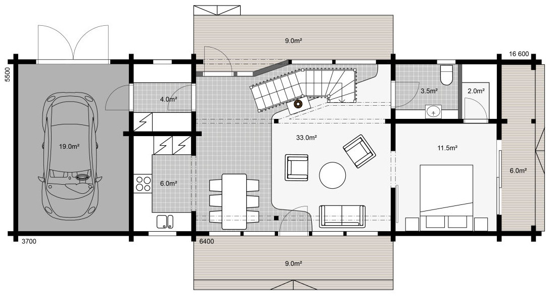 План практичного коттеджа Apertus первый этаж