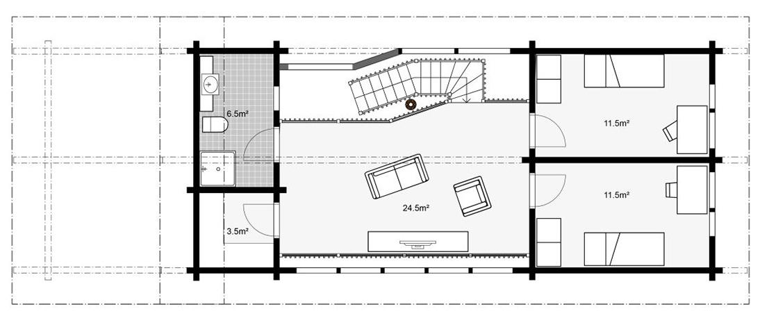 План практичного коттеджа Apertus второй этаж