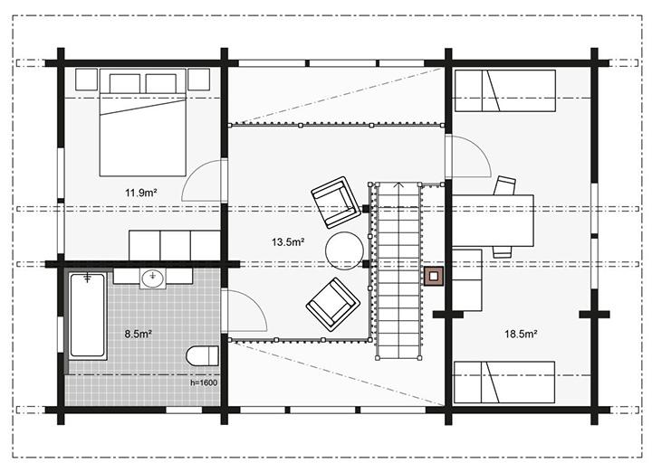 Схема строительства дома Apertus второй этаж