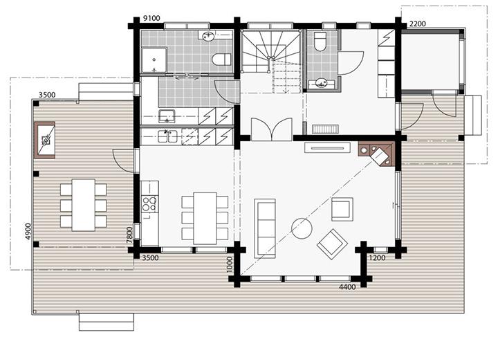 План двухэтажного дома из бруса