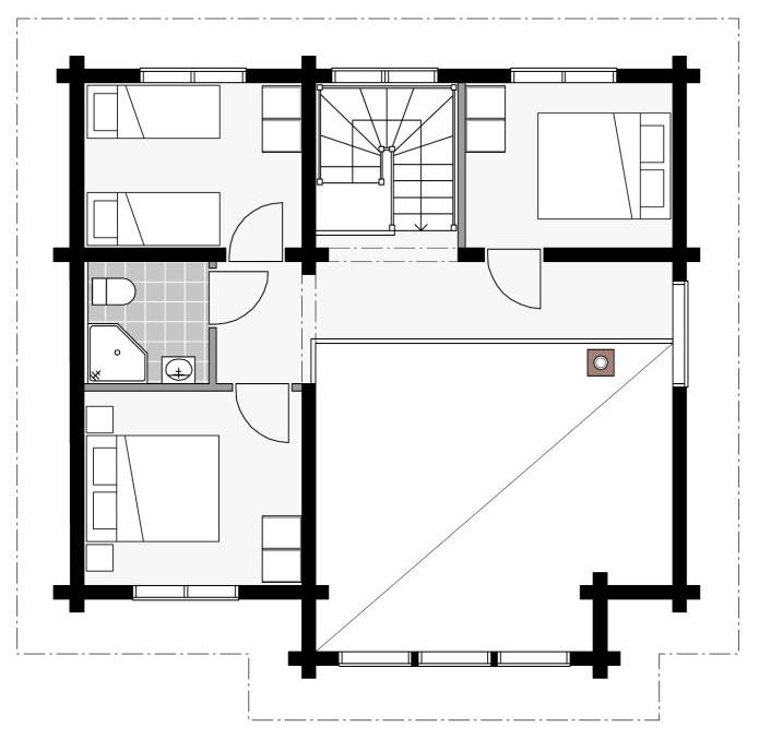 План двухэтажного шале из бруса