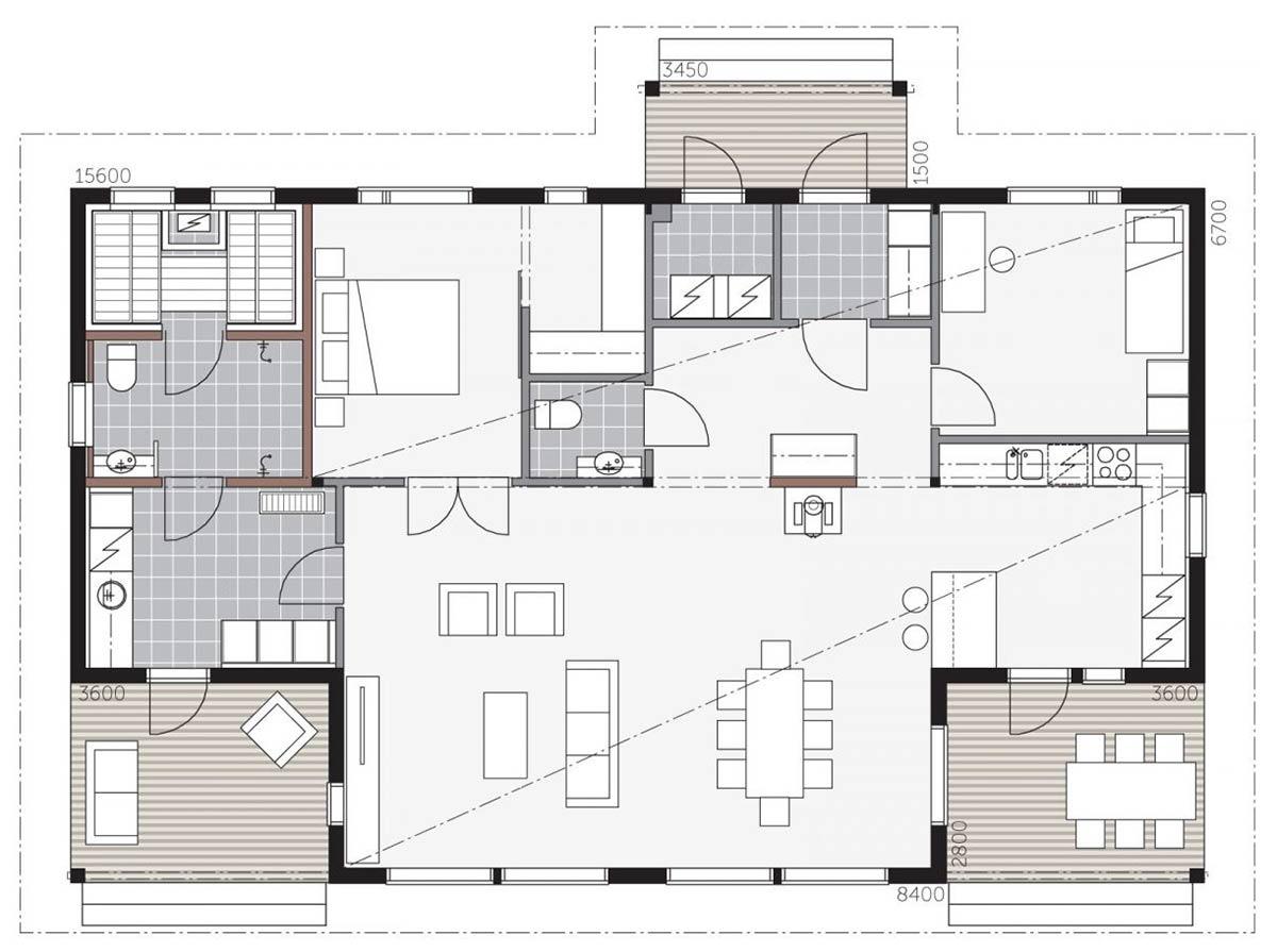 Проект одноэтажного загородного дома