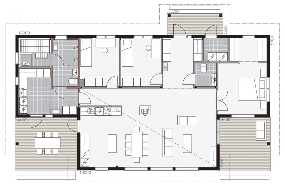 План одноэтажного деревянного коттеджа