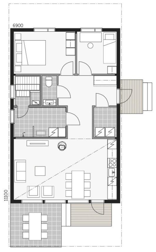 Проект скандинавского дома Скайхауз 80D