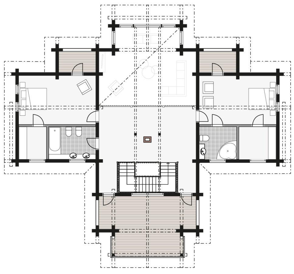 План просторного деревянного дома Aurea