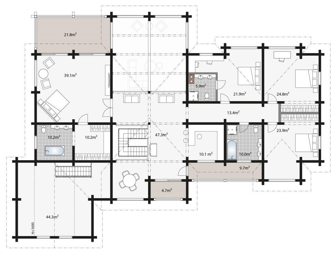 План премиального деревянного дома