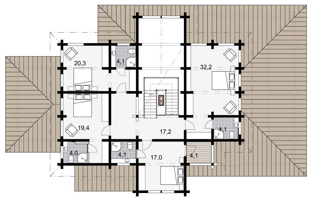 Второй этаж деревянного дома