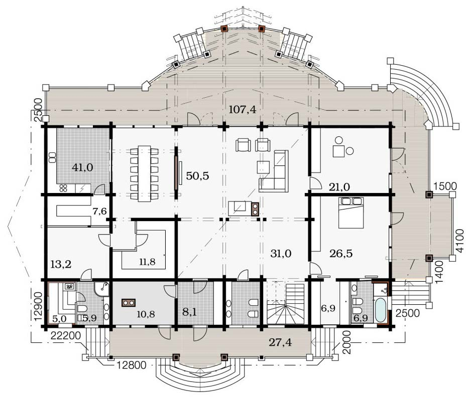 Проект большого деревянного дома