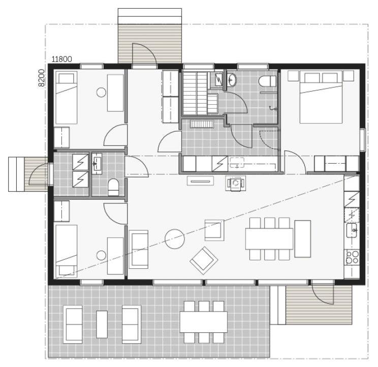 Планировка комфортного дома Скайхауз 100А