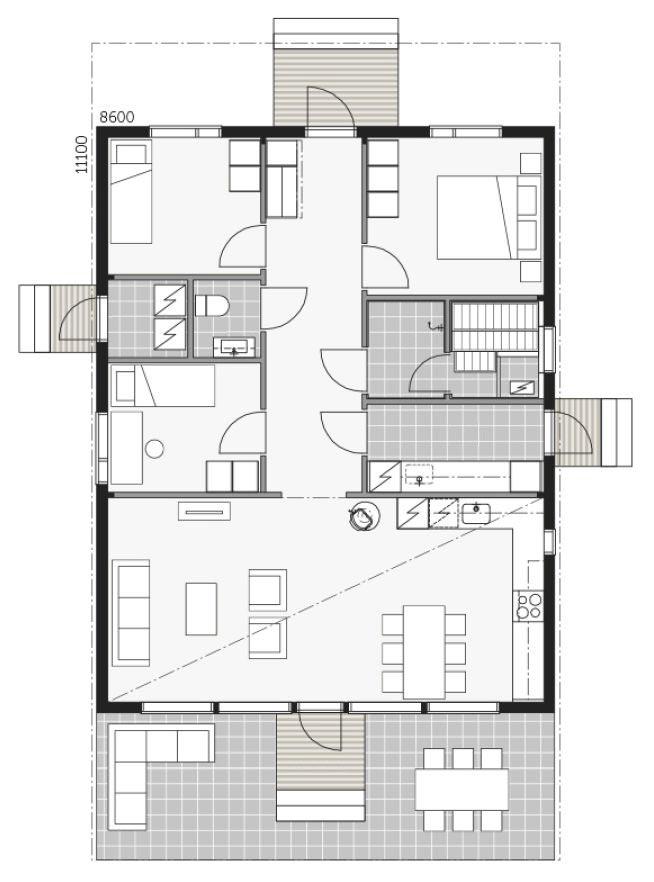 План просторного дома из клееного бруса