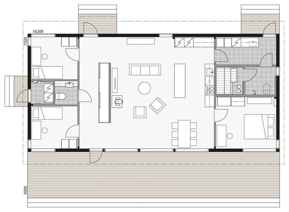 План большого деревянного дома