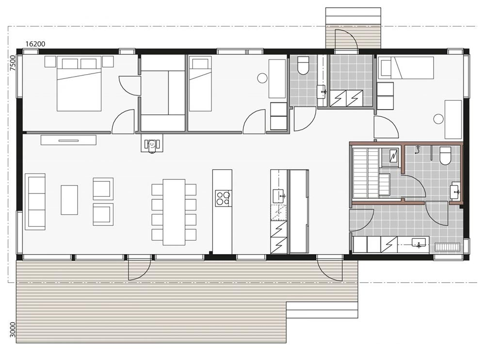Проект коттеджа с тремя спальнями
