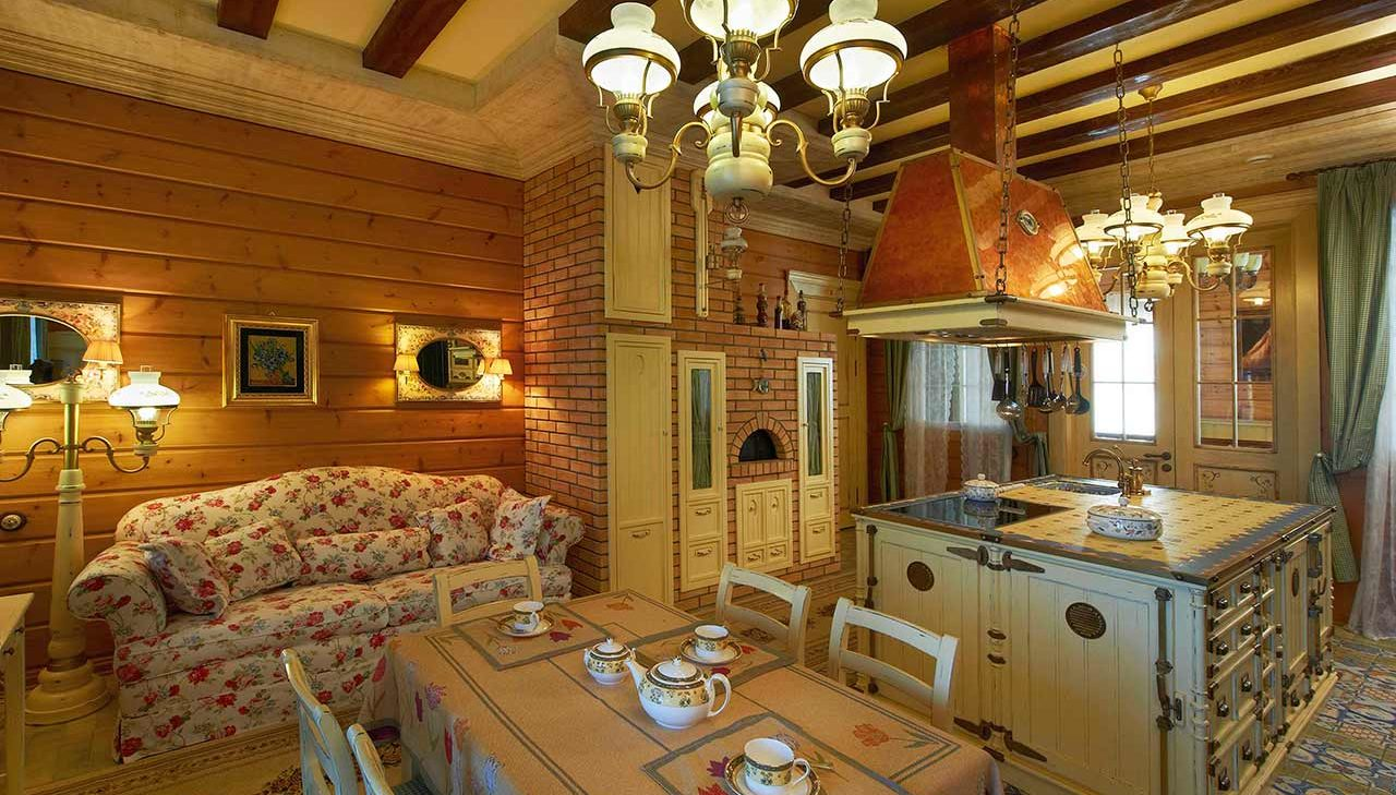 Русская печь в доме из бруса