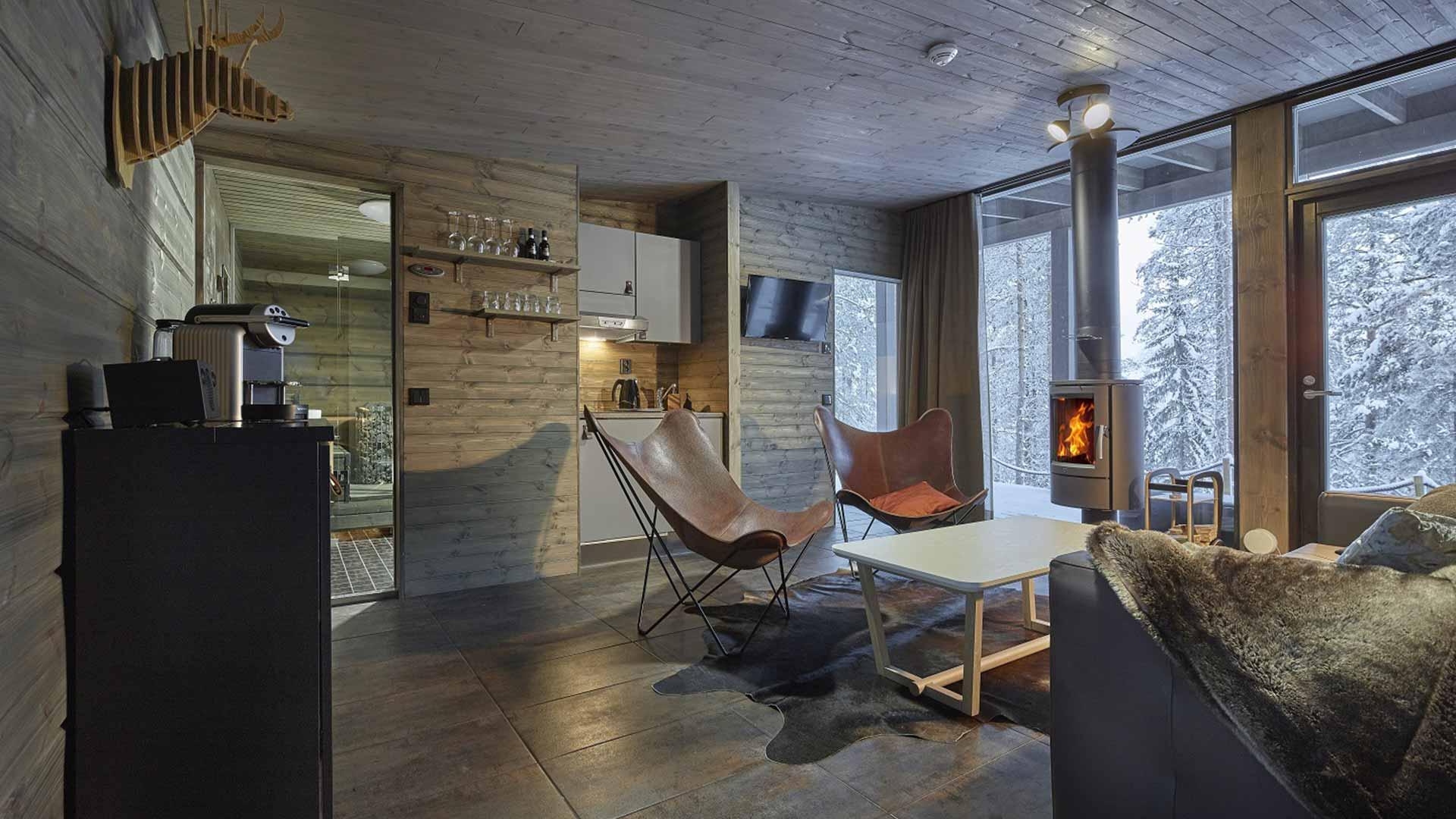 Дизайн гостиной из клееного бруса